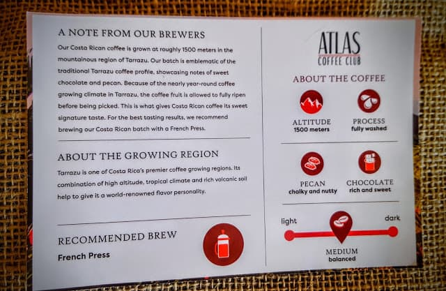 tasting notes and brewing instructions
