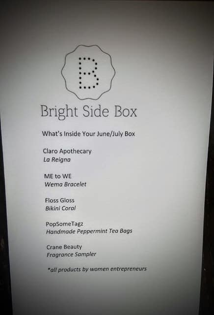 bright side box insert that lists each item that we received